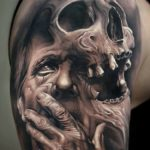Impressive surreal 3D tattoos mixing figures and scenic landscapes by Arlo DiCristina