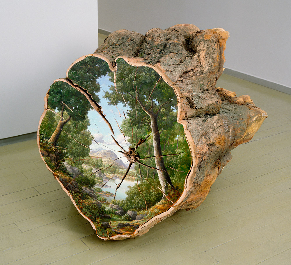 Bucolic Landscapes Painted On The Surfaces Of Cut Tree Trunks By Alison Moritsugu 1