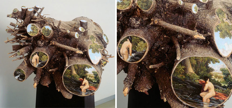 Bucolic Landscapes Painted On The Surfaces Of Cut Tree Trunks By Alison Moritsugu 10