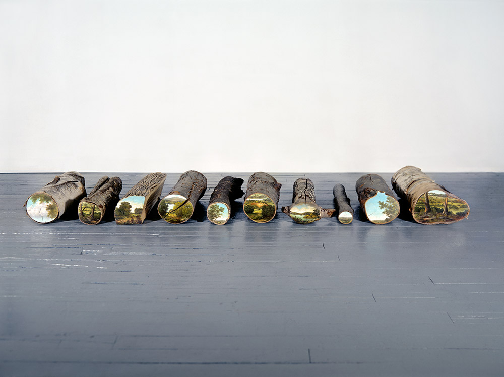 Bucolic Landscapes Painted On The Surfaces Of Cut Tree Trunks By Alison Moritsugu 6