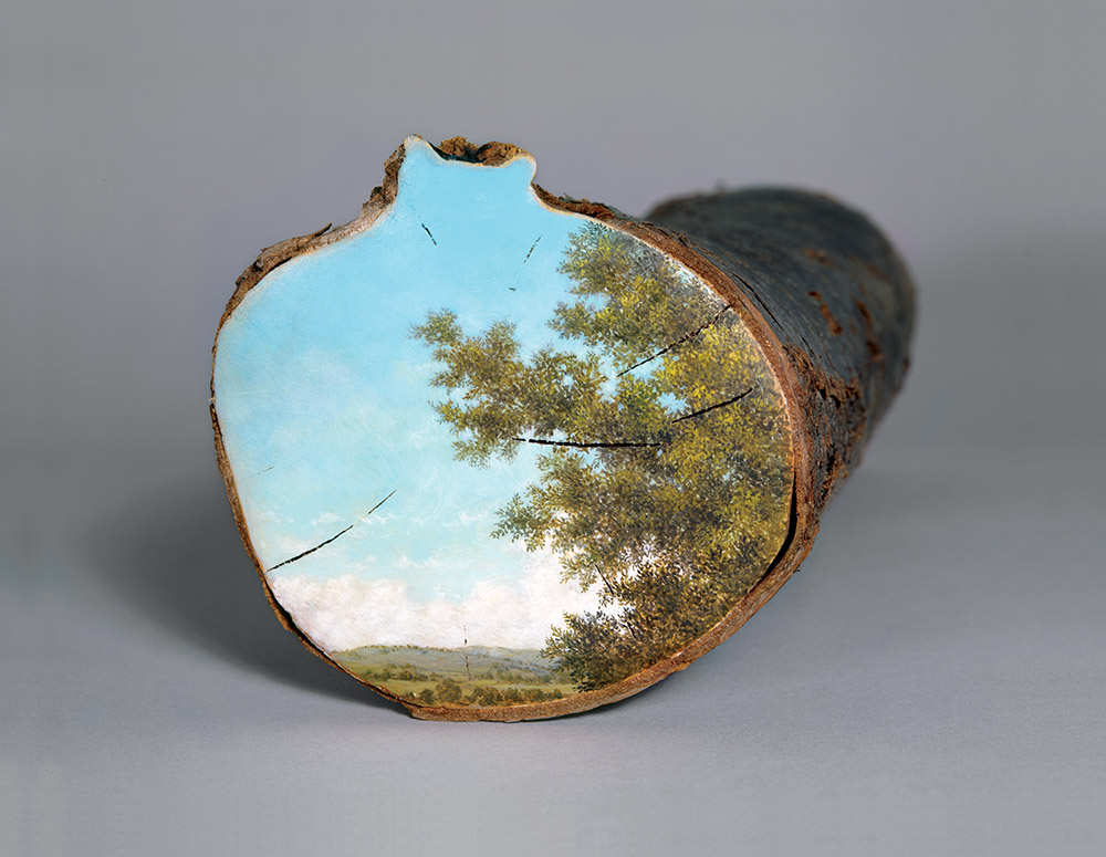 Bucolic Landscapes Painted On The Surfaces Of Cut Tree Trunks By Alison Moritsugu 7