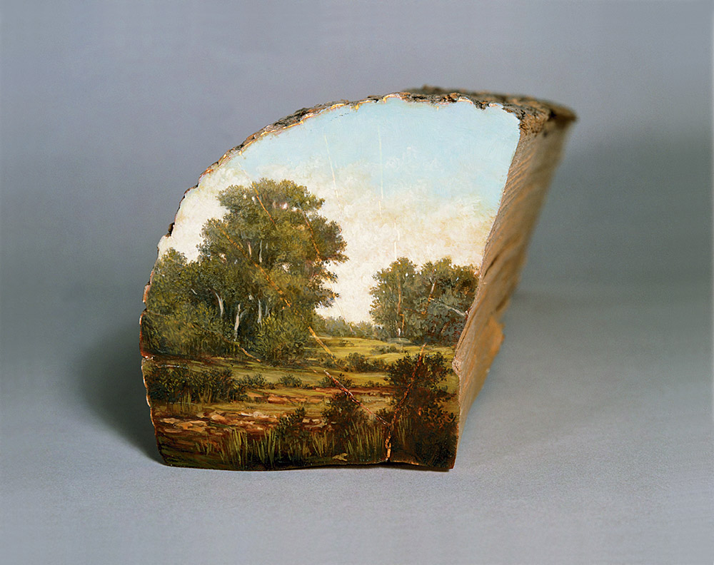 Bucolic Landscapes Painted On The Surfaces Of Cut Tree Trunks By Alison Moritsugu 9