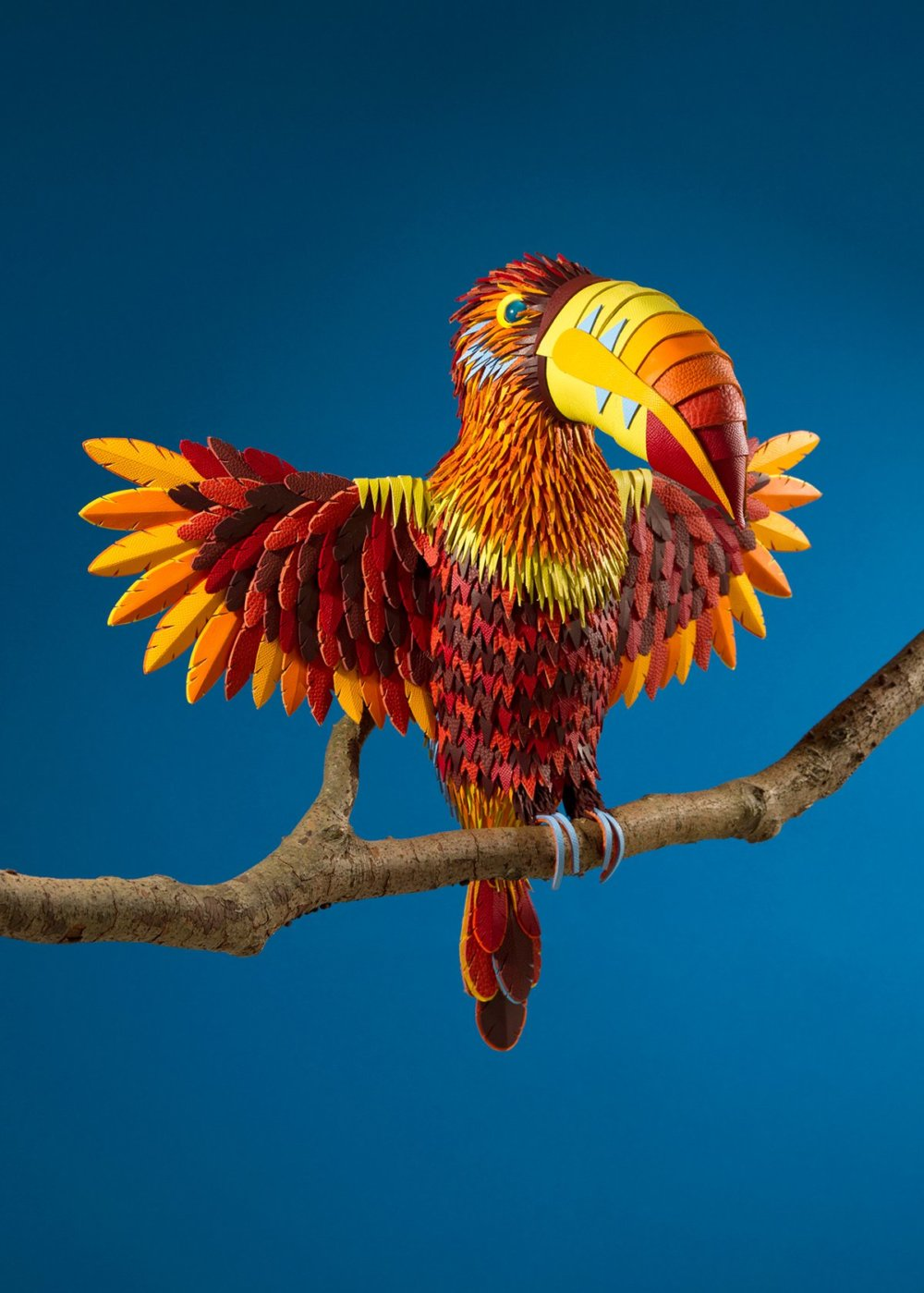 Colorful Sculptures Of Wild Animals Made From Leftover Pieces Of Leather By Lucie Thomas And Thibault Zimmermann 3