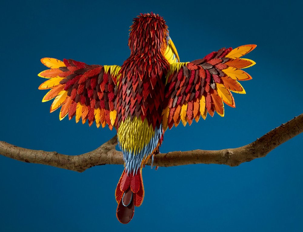 Colorful Sculptures Of Wild Animals Made From Leftover Pieces Of Leather By Lucie Thomas And Thibault Zimmermann 4