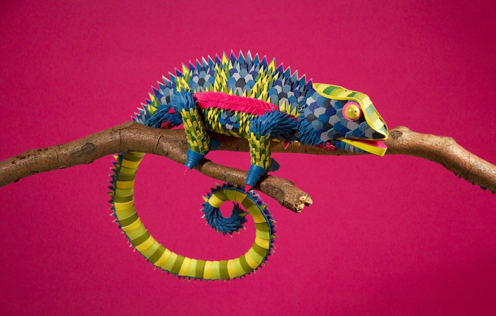 Colorful Sculptures Of Wild Animals Made From Leftover Pieces Of Leather By Lucie Thomas And Thibault Zimmermann 5
