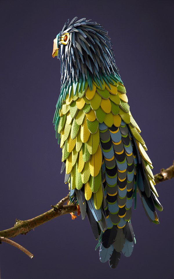 Colorful Sculptures Of Wild Animals Made From Leftover Pieces Of Leather By Lucie Thomas And Thibault Zimmermann 8