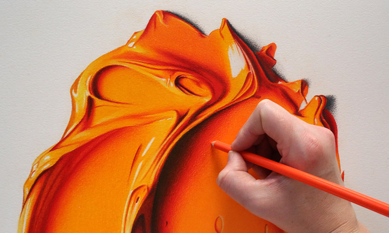 Complimentary Colors Amazingly Hyper Realistic Paint Blob Pencil Drawings By Cj Hendry 10