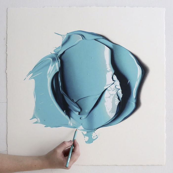 Complimentary Colors Amazingly Hyper Realistic Paint Blob Pencil Drawings By Cj Hendry 4