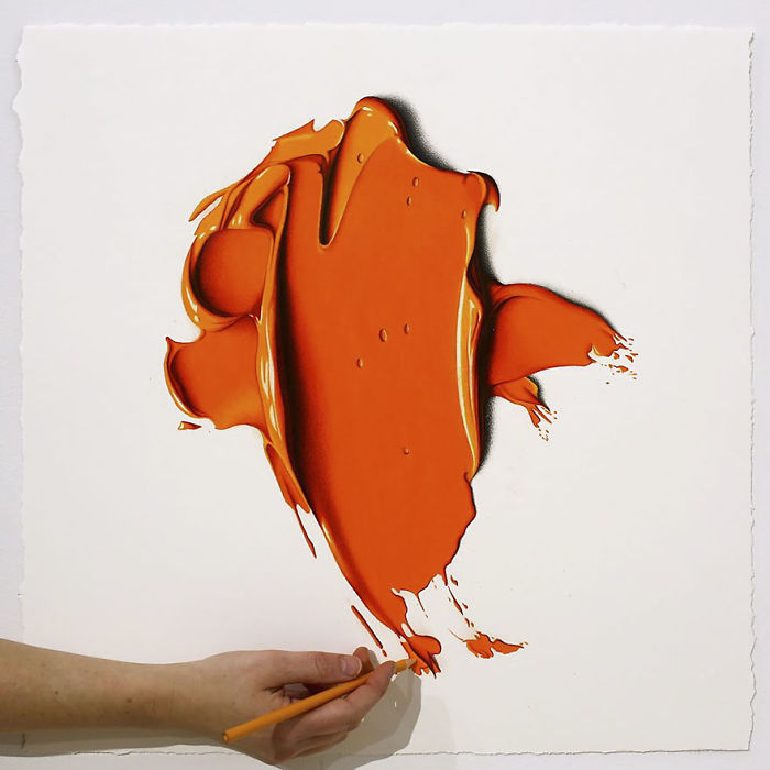 Complimentary Colors Amazingly Hyper Realistic Paint Blob Pencil Drawings By Cj Hendry 8