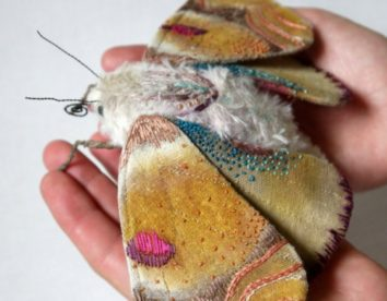 Textile sculptures of moths, butterflies, and other insects made with fabric and embroidery by Yumi Okita