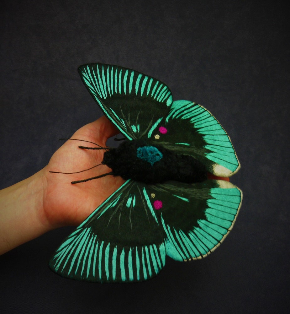 Textile Sculptures Of Moths Butterflies And Other Insects Made With Fabric And Embroidery By Yumi Okita 36