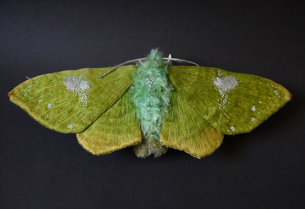 Textile Sculptures Of Moths Butterflies And Other Insects Made With Fabric And Embroidery By Yumi Okita 4