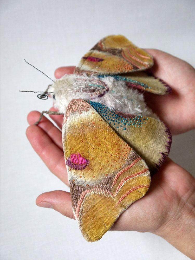 Textile Sculptures Of Moths Butterflies And Other Insects Made With Fabric And Embroidery By Yumi Okita 41