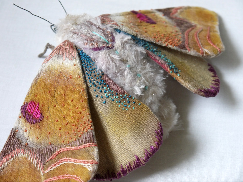 Textile Sculptures Of Moths Butterflies And Other Insects Made With Fabric And Embroidery By Yumi Okita 42