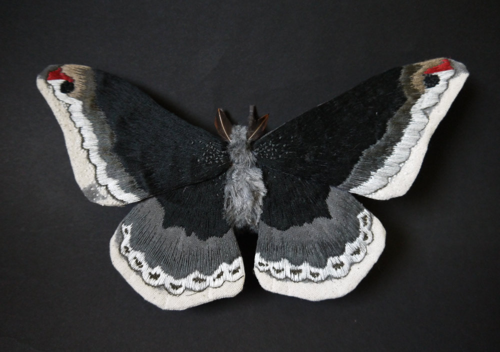 Textile Sculptures Of Moths Butterflies And Other Insects Made With Fabric And Embroidery By Yumi Okita 8
