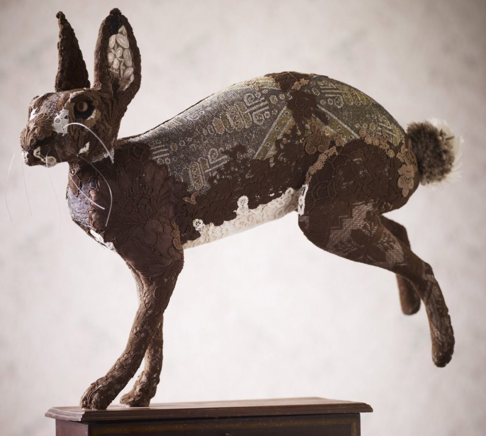 Textile Taxidermy Sculptures Of Animals Made With Antique Fabrics By Donya Coward 10