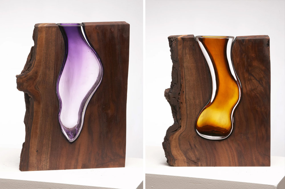Wood Glass Glass Vases Shaped Into Wooden Enclosures By Scott Slagerman 4
