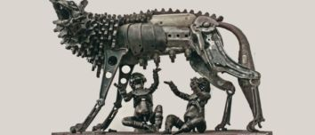 Formidable scrap metal sculptures blending Renaissance artworks with industrial archaeology and the cyberpunk aesthetic by Patrick Alò