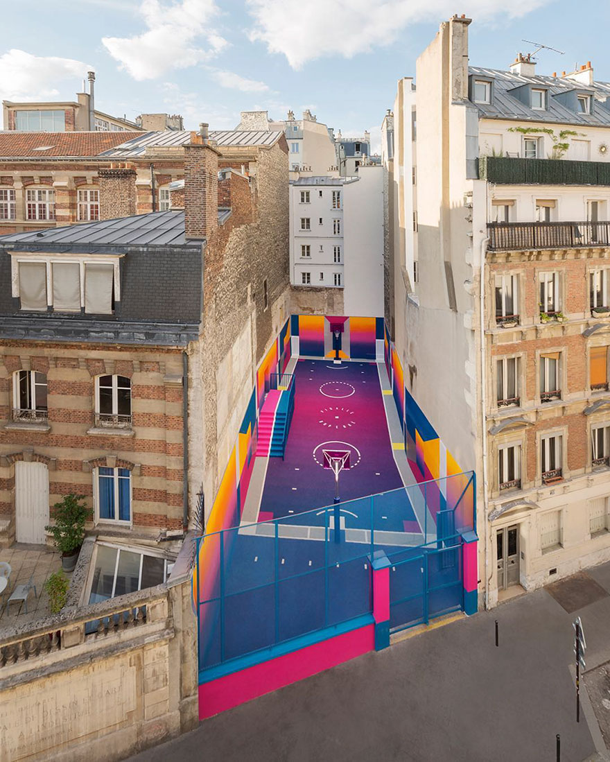 Parisian Basketball Court Amazingly Decorated With The 80s Colorful Aesthetic By Ill Studio Pigalle And Nike 1
