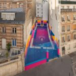 Parisian basketball court amazingly decorated with the 80's colorful aesthetic by Ill-Studio, Pigalle, and Nike