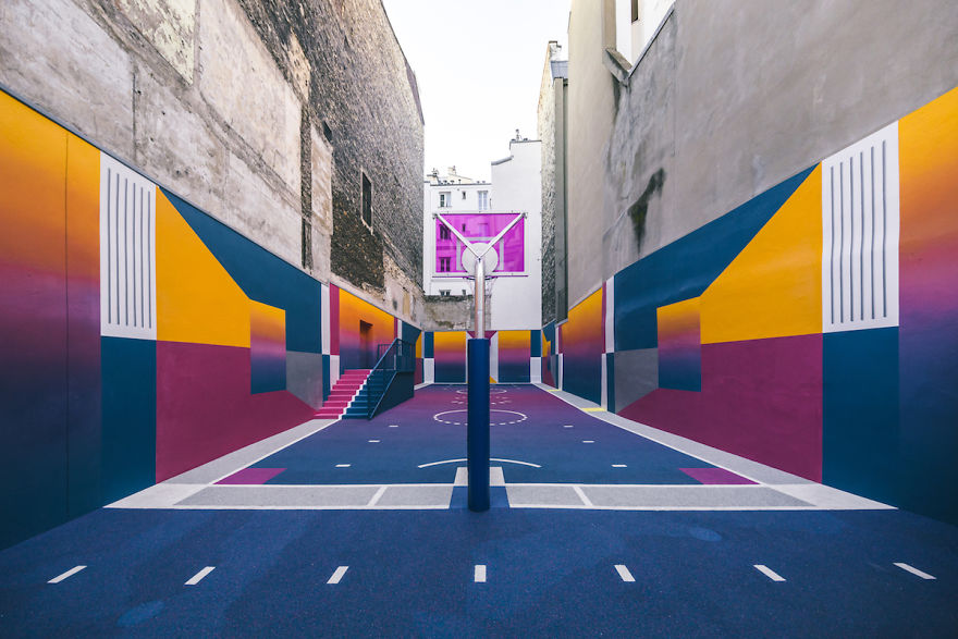 Parisian Basketball Court Amazingly Decorated With The 80s Colorful Aesthetic By Ill Studio Pigalle And Nike 3