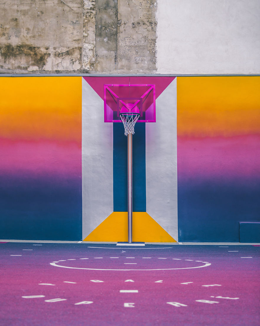 Parisian Basketball Court Amazingly Decorated With The 80s Colorful Aesthetic By Ill Studio Pigalle And Nike 4