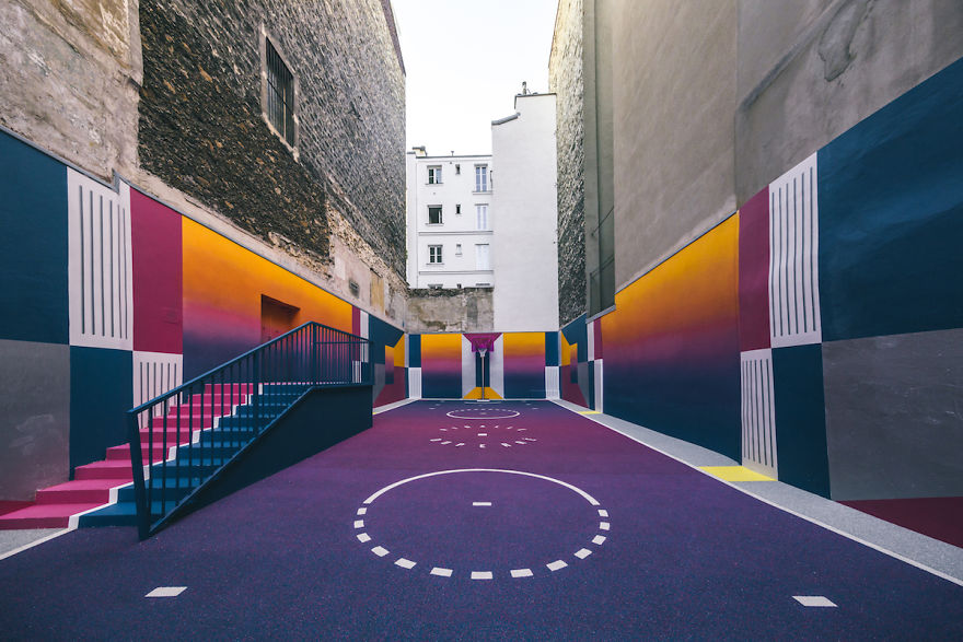 Parisian Basketball Court Amazingly Decorated With The 80s Colorful Aesthetic By Ill Studio Pigalle And Nike 5
