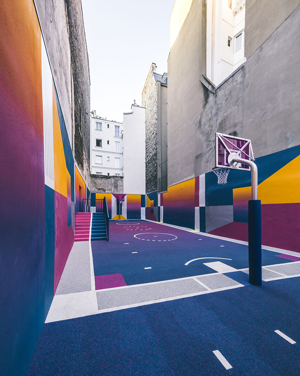Parisian Basketball Court Amazingly Decorated With The 80s Colorful Aesthetic By Ill Studio Pigalle And Nike 9