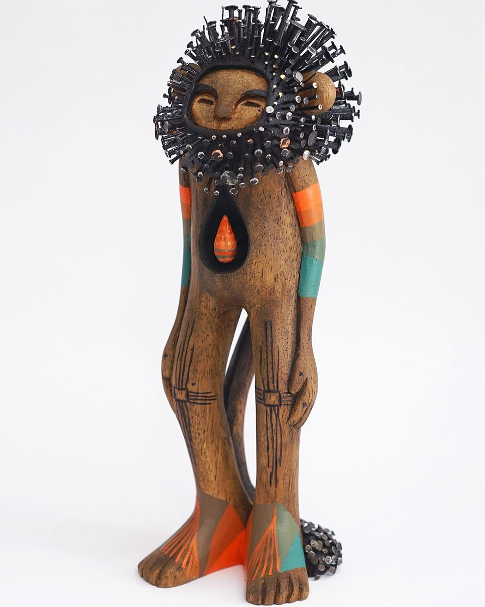 Stunningly Figurative Wood Sculptures Pierced With Hundreds Of Nails By Jaime Molina 5