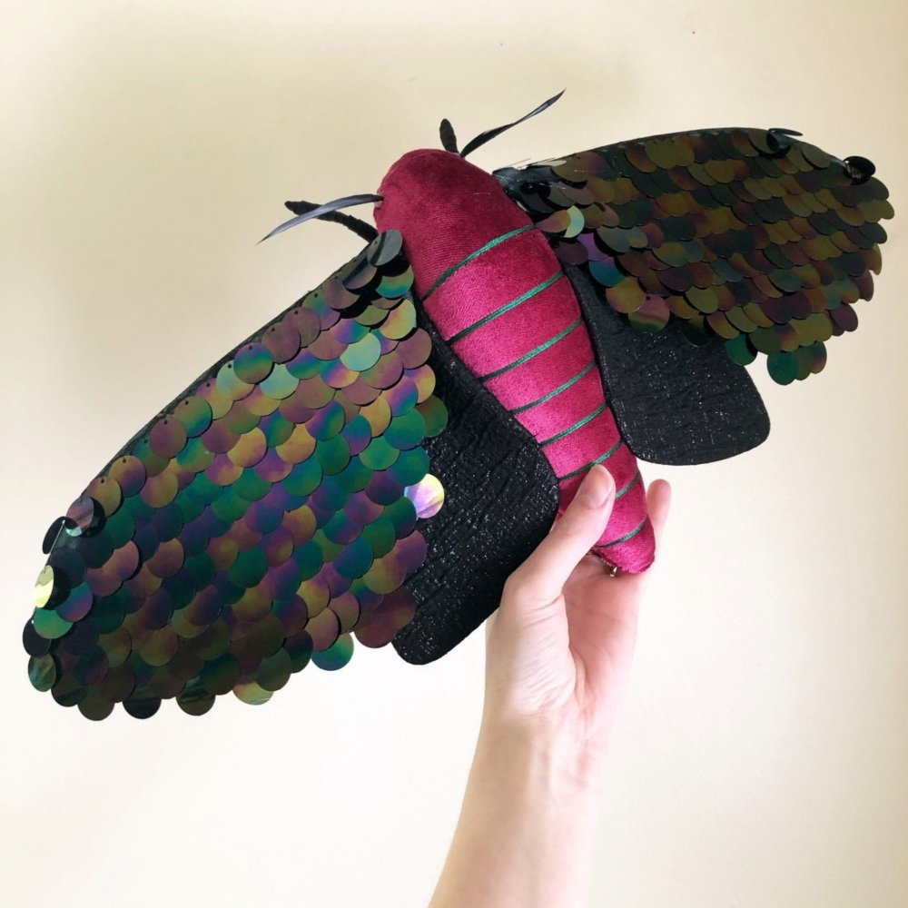 Gorgeous Moths And Bats Fiber Sculptures Made With Printed Fabrics By Molly Burgess 10