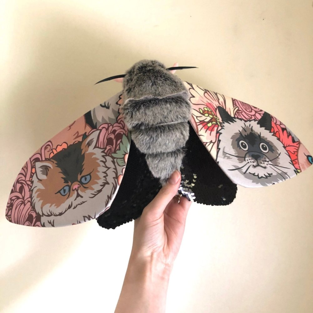 Gorgeous Moths And Bats Fiber Sculptures Made With Printed Fabrics By Molly Burgess 4