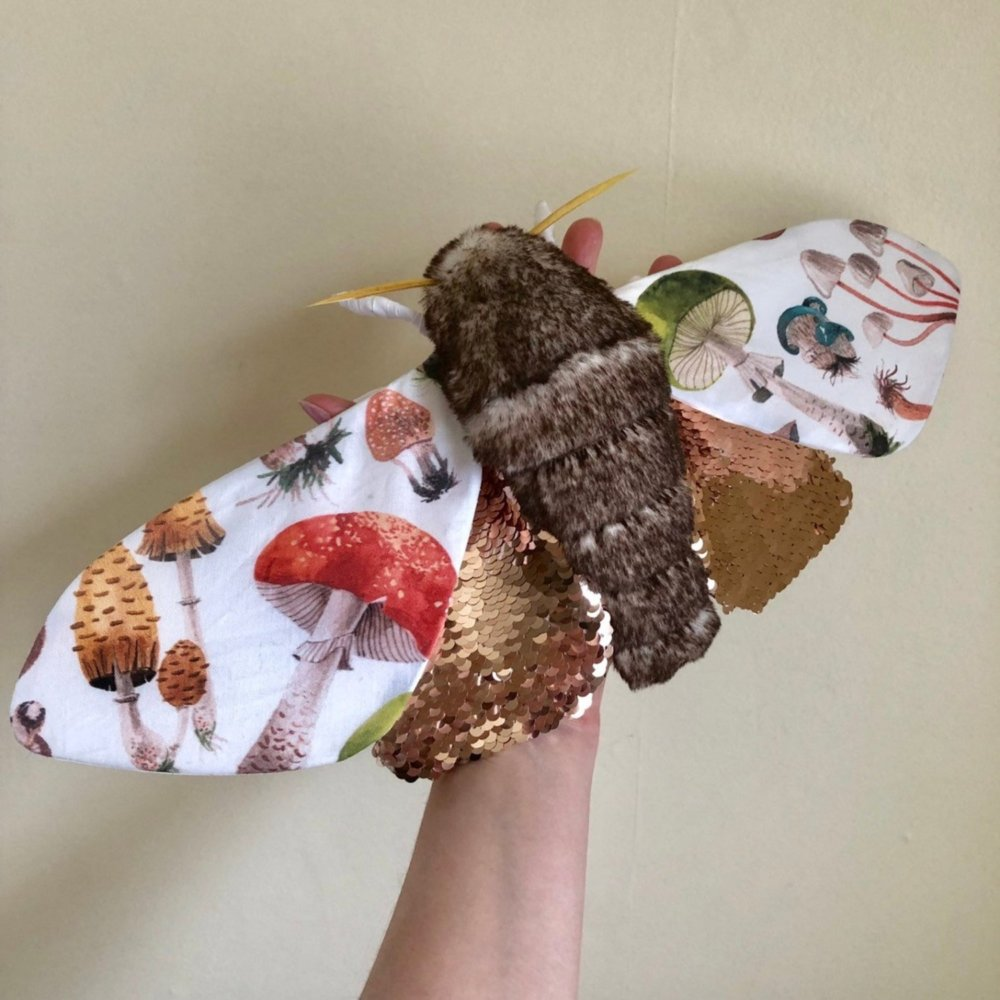 Gorgeous Moths And Bats Fiber Sculptures Made With Printed Fabrics By Molly Burgess 5