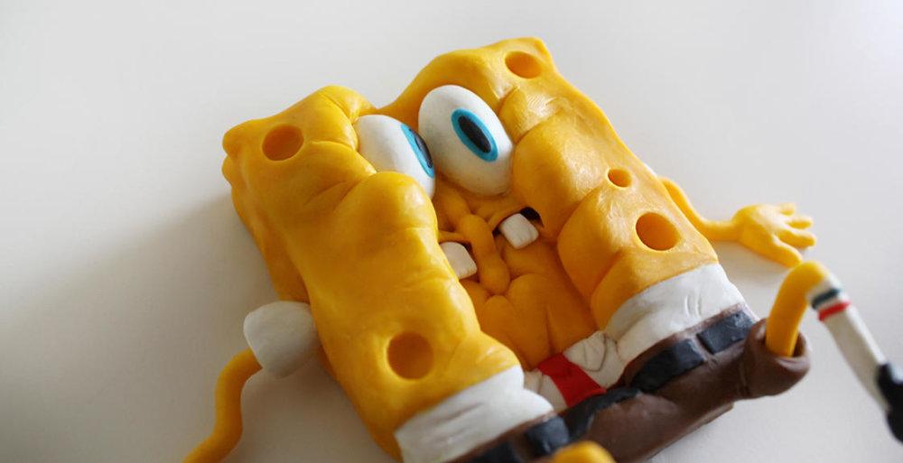 Handmade Polymer Clay Sculptures Of Spongebob By Alex Palazzi And Cecilia Fracchia 10