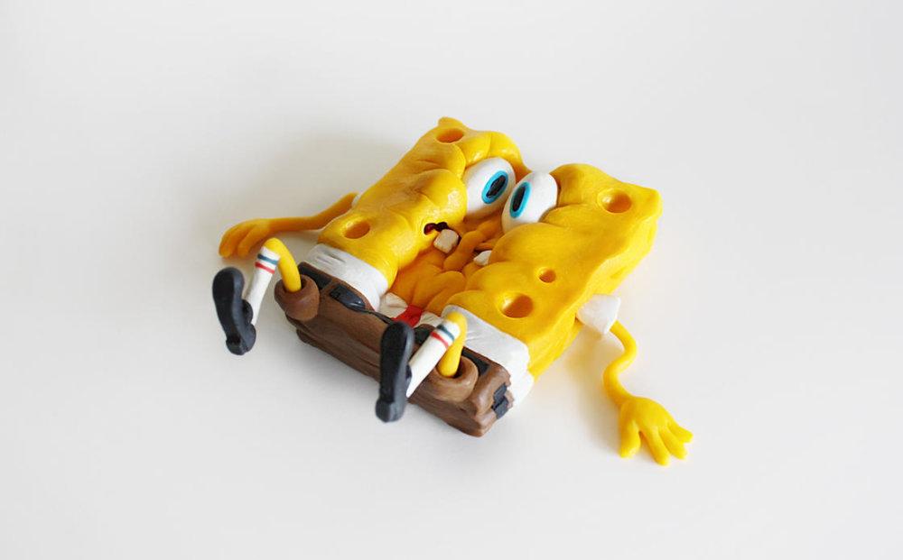 Handmade Polymer Clay Sculptures Of Spongebob By Alex Palazzi And Cecilia Fracchia 3
