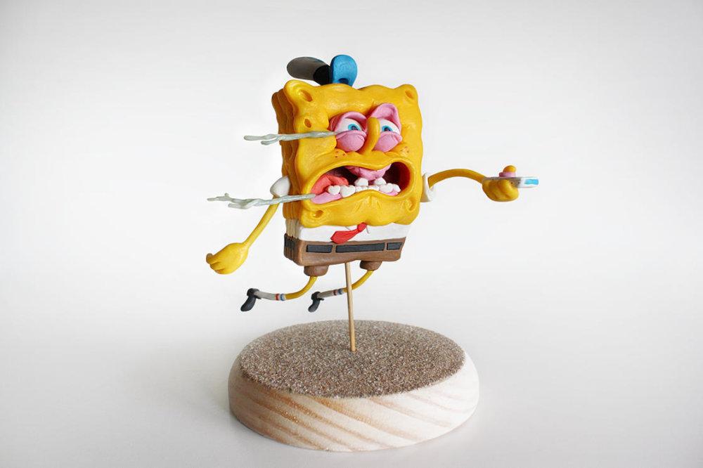 Handmade Polymer Clay Sculptures Of Spongebob By Alex Palazzi And Cecilia Fracchia 5