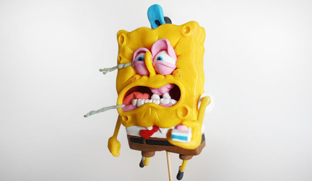 Handmade Polymer Clay Sculptures Of Spongebob By Alex Palazzi And Cecilia Fracchia 8