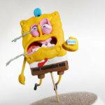 Handmade polymer clay sculptures of SpongeBob by Alex Palazzi & Cecilia Fracchia