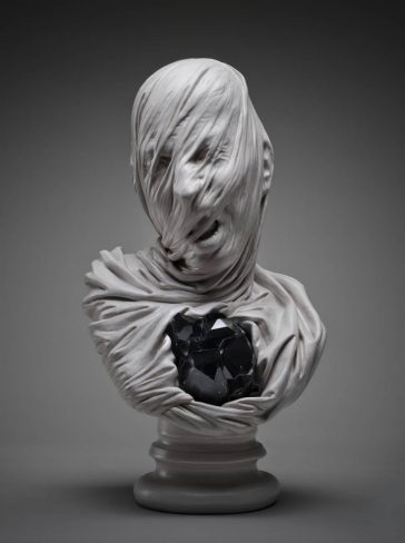 Detailed sculptures of ghostly veiled busts by Livio Scarpella