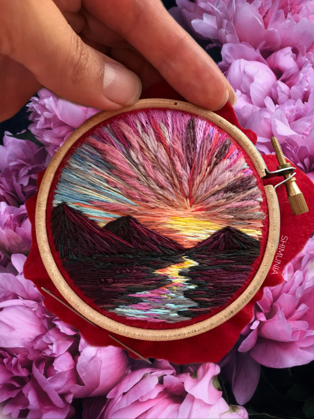 Lush Embroidery Hoop Art Of Landscapes In Vivid Colors By Vera Shimunia 1