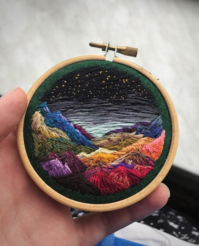 Lush Embroidery Hoop Art Of Landscapes In Vivid Colors By Vera Shimunia 11