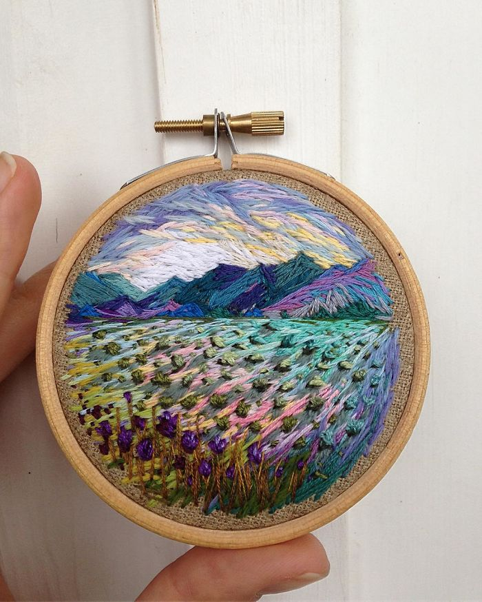 Lush Embroidery Hoop Art Of Landscapes In Vivid Colors By Vera Shimunia 12