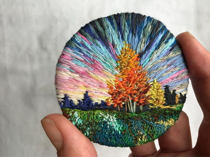 Lush Embroidery Hoop Art Of Landscapes In Vivid Colors By Vera Shimunia 13