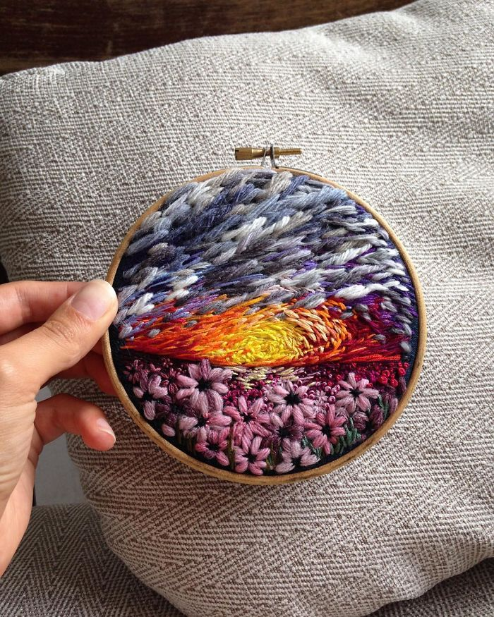 Lush Embroidery Hoop Art Of Landscapes In Vivid Colors By Vera Shimunia 16