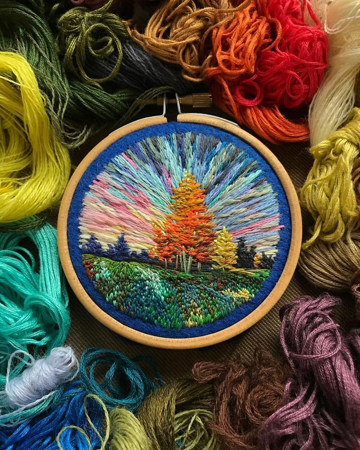 Lush Embroidery Hoop Art Of Landscapes In Vivid Colors By Vera Shimunia 17