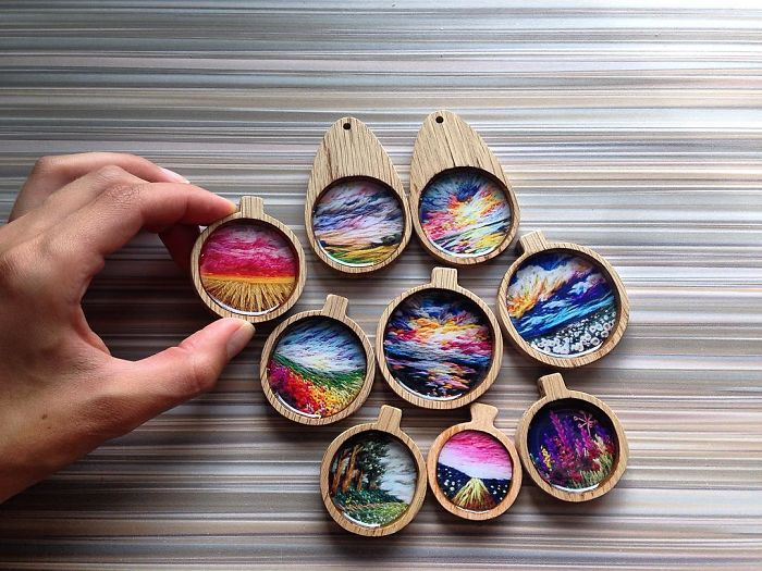 Lush Embroidery Hoop Art Of Landscapes In Vivid Colors By Vera Shimunia 19