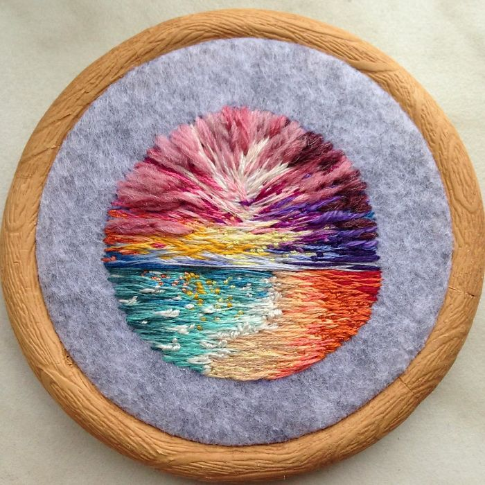 Lush Embroidery Hoop Art Of Landscapes In Vivid Colors By Vera Shimunia 22