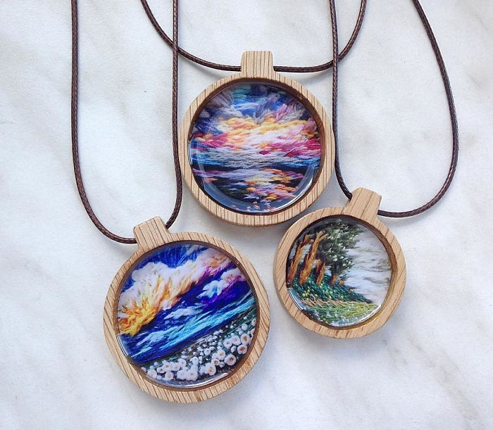 Lush Embroidery Hoop Art Of Landscapes In Vivid Colors By Vera Shimunia 23