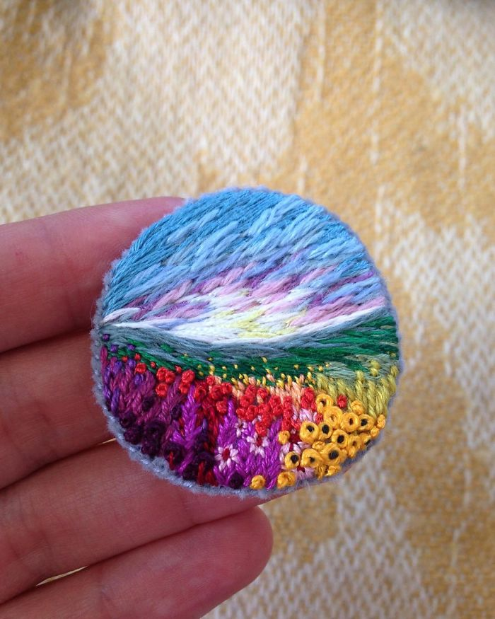 Lush Embroidery Hoop Art Of Landscapes In Vivid Colors By Vera Shimunia 24