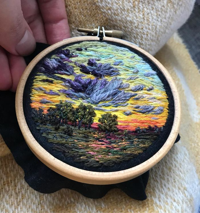 Lush Embroidery Hoop Art Of Landscapes In Vivid Colors By Vera Shimunia 25