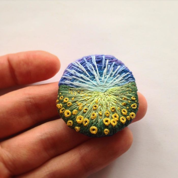 Lush Embroidery Hoop Art Of Landscapes In Vivid Colors By Vera Shimunia 27